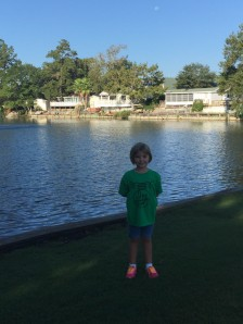 our granddaughter, Eden, in front of 6 lakes at Ocean Lakes RV Park.