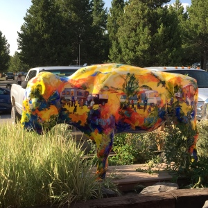 A painted buffalo.